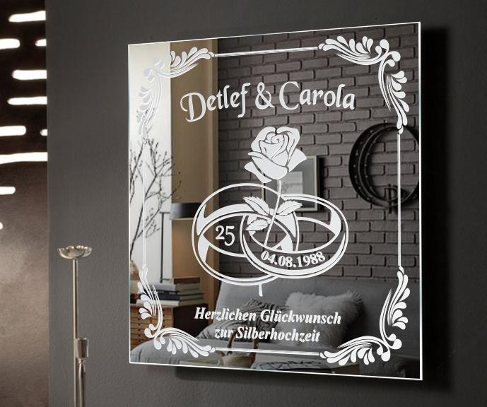 silberhochzeit motivspiegel hochzeit goldene bild spiegel. Black Bedroom Furniture Sets. Home Design Ideas