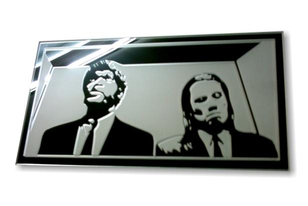 Pulp fiction spiegel bild motiv wandbild motivspiegel dvd for Bild spiegel